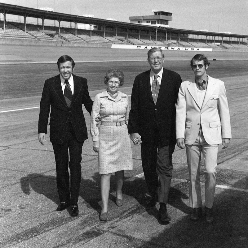 The France family at Daytona International Speedway. (L-R) Bill France Jr, parents Anne B. France and  Bill France Sr, and brother Jim France