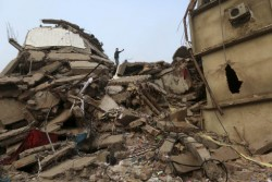 The collapsed Rana Plaza in Dhaka